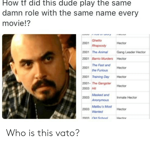 dude: How tf did this dude play the same  damn role with the same name every  movie!?  ew r uny  Ghetto  2001  Hector  Rhapsody  2001 The Animal  Gang Leader Hector  2001 Barrio Murders Hector  The Fast and  2001  Hector  the Furious  2001 Training Day  Hector  2001- The GangsterHector  2003 Hit  2003 Masked and  Anonymous  Inmate Hector  Malibu's Most  2003  Hector  Wanted  2003 Old School  Hector Who is this vato?
