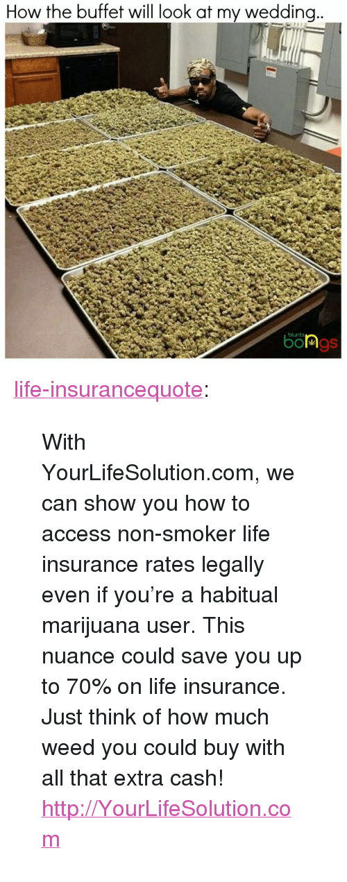 "Blunts, Life, and Tumblr: How the buffet will look at my weddina  blunts <p><a class=""tumblr_blog"" href=""http://life-insurancequote.tumblr.com/post/150193458340"">life-insurancequote</a>:</p> <blockquote> <p>With YourLifeSolution.com, we can show you how to access non-smoker life insurance rates legally even if you're a habitual marijuana user.  This nuance could save you up to 70% on life insurance.  Just think of how much weed you could buy with all that extra cash!</p>  <p><a href=""http://YourLifeSolution.com"">http://YourLifeSolution.com</a></p> </blockquote>"