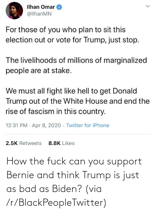 How The Fuck: How the fuck can you support Bernie and think Trump is just as bad as Biden? (via /r/BlackPeopleTwitter)