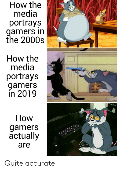 2000s: How the  media  portrays  gamers in  the 2000s  How the  media  portrays  gamers  in 2019  How  gamers  actually  are Quite accurate