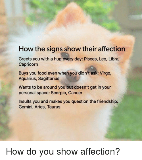 How the Signs Show Their Affection Greets You With a Hug