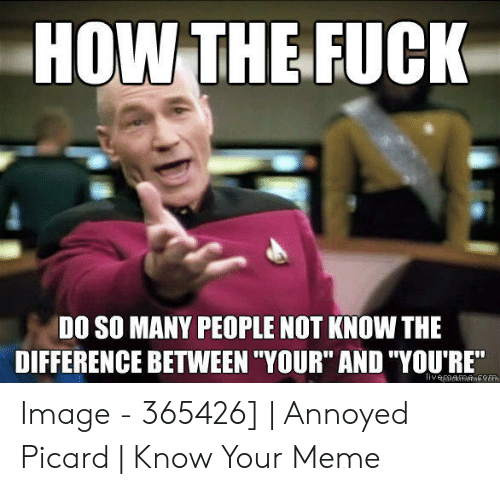 """You Re Meme: HOW THEFUCK  DO SO MANY PEOPLE NOT KNOW THE  DIFFERENCE BETWEEN """"YOUR"""" AND """"YOU'RE"""" Image - 365426] 