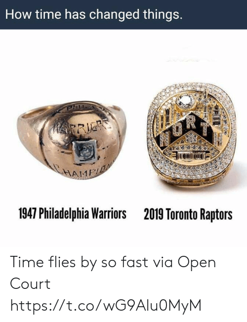 Philadelphia: How time has changed things.  HRRIE  HAME  1947 Philadelphia Warriors  2019 Toronto Raptors Time flies by so fast   via Open Court https://t.co/wG9Alu0MyM