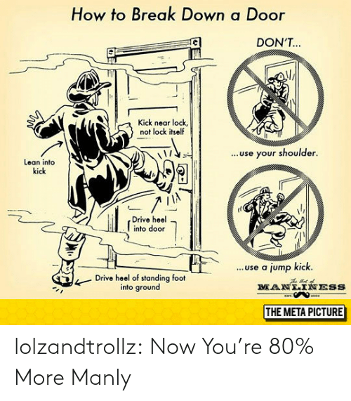 heel: How to Break Down a Door  DON'T  Kick near lock,  not lock itself  ..use your shoulder.  Lean into  kick  Drive heel  into door  ...use a jump kick.  Drive heel of standing foot  into ground  MANLTNESS  THE META PICTURE lolzandtrollz:  Now You're 80% More Manly