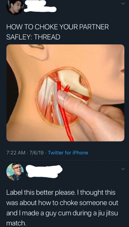 Cum, Iphone, and Twitter: HOW TO CHOKE YOUR PARTNER  SAFLEY: THREAD  7:22 AM 7/6/19 Twitter for iPhone  Label this better please. I thought this  was about how to choke someone out  and I made a guy cum during a jiu jitsu  match.
