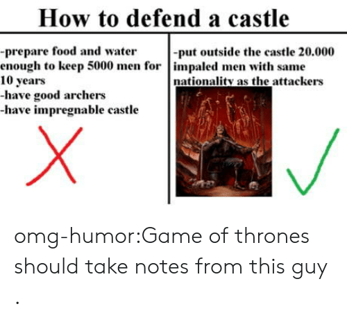 Food, Game of Thrones, and Omg: How to defend a castle  -prepare food and water  enough to keep 5000 men for impaled men with same  10 years  -have good archers  -have impregnable castle  -put outside the castle 20.000  nationality as the attackers omg-humor:Game of thrones should take notes from this guy .
