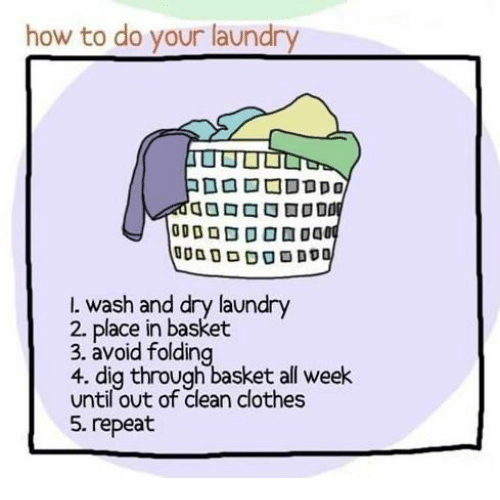 Clothes, Laundry, and Memes: how to do your laundry  l. wash and dry laundry  2 place in basket  3. avoid folding  4. dig through basket all week  until out of clean clothes  5. repeat