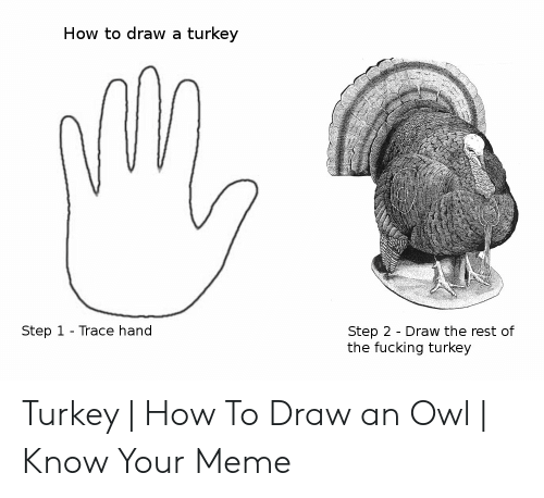How To Draw A Turkey Step 1 Trace Hand Step 2 Draw The