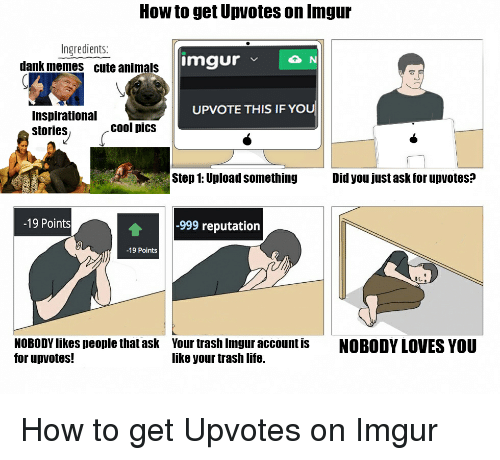 Cute Animals, Imgur, and Dank Memes: How to get Upvotes on Inngur  Ingredients:  imgur  v N  dank memes cute animals  UPVOTE THIS IF YOU  Inspirational  cool pics  stories  Step 1: Upload something  Did you just ask for upvotes?  -19 Points  -999 reputation  -19 Points  NOBODYlikes people that ask Your trash Imgur account is  NOBODY LOVES YOU  for up votes!  like your trash life. How to get Upvotes on Imgur