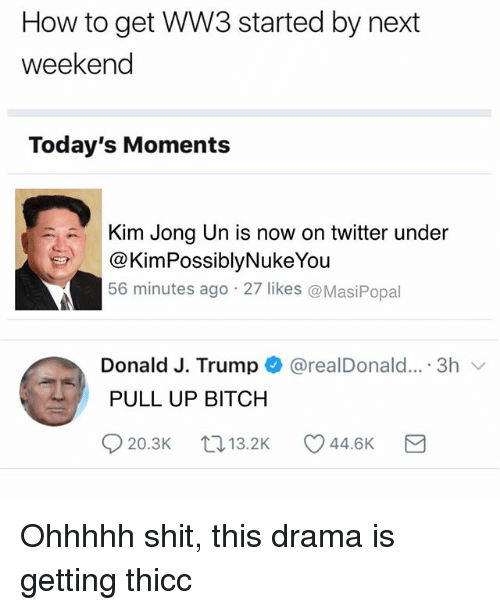 Bitch, Funny, and Kim Jong-Un: How to get WW3 started by next  weekend  Today's Moments  Kim Jong Un is now on twitter under  @KimPossiblyNukeYou  56 minutes ago 27 likes @MasiPopal  Donald J. Trump + @realDonald.. . 3h 、  PULL UP BITCH Ohhhhh shit, this drama is getting thicc