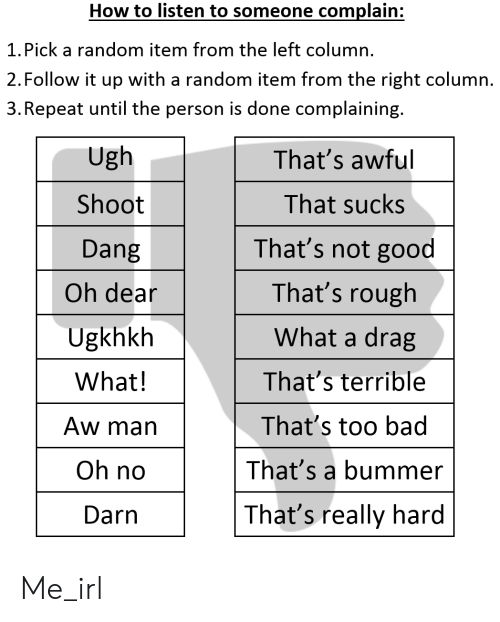 Bad, Good, and How To: How to listen to someone complain:  1.Pick a random item from the left column  2. Follow it up with a random item from the right columrn  3.Repeat until the person is done complaining  Ugh  Shoot  Dang  Oh dear  Ugkhkh  What!  Aw marn  Oh no  Darn  That's awful  That sucks  That's not good  That's rough  What a drag  That's terrible  That's too bad  That's a bummer  That's really hard Me_irl