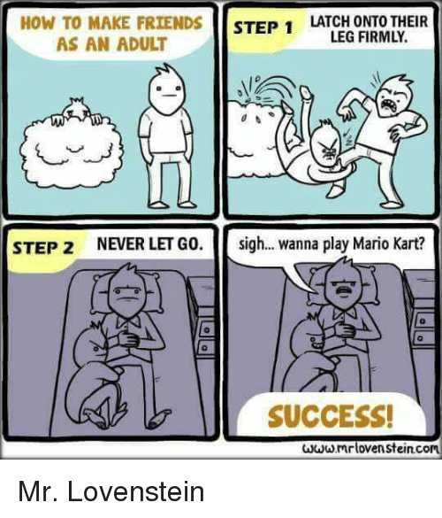 Legging: HOW TO MAKE FRIENDS STEP 1LATCED ONEOTHEIR  LEG FIRMLY.  AS AN ADULT  0  STEP 2  NEVER LET GO.  sigh  wanna play Mario Kart?  0  SUCCESS!  mrlovenstein.com Mr. Lovenstein