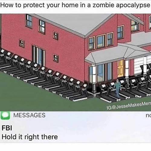 Hold It: How to protect your home in a zombie apocalypse  IG@JesseMakesMem  MESSAGES  no  FBI  Hold it right there