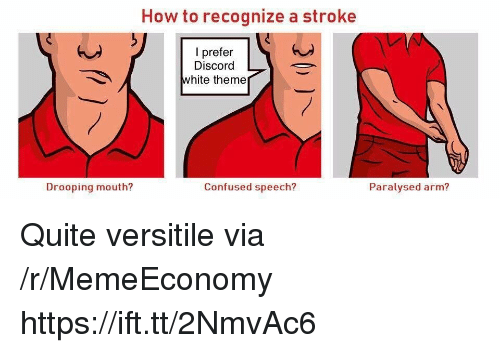 Confused, How To, and Quite: How to recognize a stroke  I prefer  Discord  white theme  Drooping mouth?  Confused speech?  Paralysed arm? Quite versitile via /r/MemeEconomy https://ift.tt/2NmvAc6