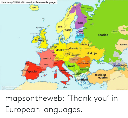 "Dank, Target, and Tumblr: How to say THANK YOU in various European languages  talka  takk  spästep  giitu  passpe  gtto  kiitos  gajhtoe  takk  passibo  kiitos  kitän  takk  takk  tapadh leat  SPasibo  tack  räxmät  aräxmat  aitäh  go raibh maith agat""thank ye  spasíbo  paldies  Lodif ayd  tak  thank you  diolch  tunk  ačiü  dzk  tank  dzjákuju  raxmet  tonk  dank je  danke  meur ras  dziękuję  dakau so  merchi  trugarez  merci  djákuju  děkuji  akia  dakujem  anjanav  mers  danksche  dangge  merci  köszönöm  ACSIonOm un  multumesc  grazas  sağ olufiz  granie  itabup  graies  rikko  mercés  gmadiob tasakkür  ediram  hvala  merpi  graas  jnorhakat yun  inorhika  blagodarjá  grazie  obrigado  gracias  faluhin-net  hiagodaram  falominderit  haristo  grazie  gracies  teşekkür  ederim  grazie  efcharisto  grazzi  r mapsontheweb:  'Thank you' in European languages."