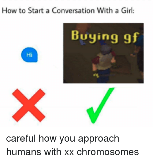 How To Start A Conversation: How to Start a Conversation With a Girl:  Buying gf  Hi <p>careful how you approach humans with xx chromosomes</p>