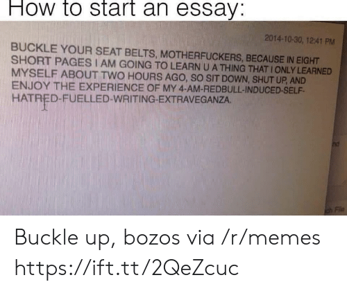 Buckle: How to start an essay:  2014-10-30, 12:41 PM  BUCKLE YOUR SEAT BELTS, MOTHERFUCKERS, BECAUSE IN EIGHT  SHORT PAGES I AM GOING TO LEARN U A THING THAT IONLY LEARNED  MYSELF ABOUT TWO HOURS AGO, SO SIT DOWN, SHUT UP, AND  ENJOY THE EXPERIENCE OF MY 4-AM-REDBULL-INDUCED-SELF  HATRED-FUELLED-WRITING-EXTRAVEGANZA. Buckle up, bozos via /r/memes https://ift.tt/2QeZcuc