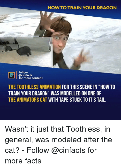 """Animators: HOW TO TRAIN YOUR DRAGON  Follow  HEAL  cinfacts  for more content  THE TOOTHLESS ANIMATION FOR THIS SCENE IN """"HOW TO  TRAIN YOUR DRAGON"""" WAS MODELLED ON ONE OF  THE ANIMATORS CAT WITH TAPE STUCK TO IT'S TAIL. Wasn't it just that Toothless, in general, was modeled after the cat?⠀ -⠀ Follow @cinfacts for more facts"""
