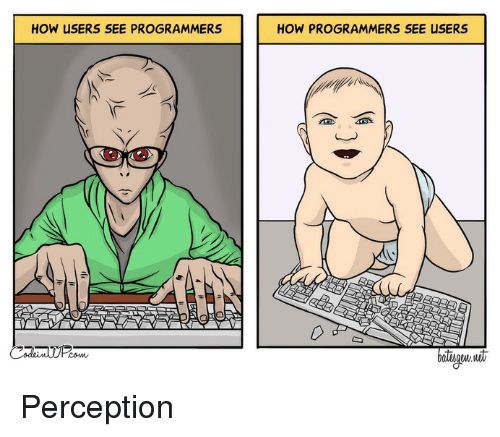 Perception, How, and  See: HOW USERS SEE PROGRAMMERS  HOW PROGRAMMERS SEE USERS  batiw it Perception