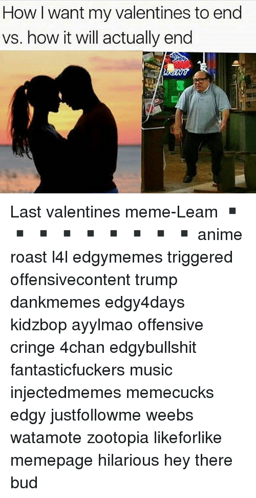 valentines meme: How want my valentines to end  vs. how it will actually end Last valentines meme-Leam ▪️ ▪️ ▪️ ▪️ ▪️ ▪️ ▪️ ▪️ ▪️ anime roast l4l edgymemes triggered offensivecontent trump dankmemes edgy4days kidzbop ayylmao offensive cringe 4chan edgybullshit fantasticfuckers music injectedmemes memecucks edgy justfollowme weebs watamote zootopia likeforlike memepage hilarious hey there bud