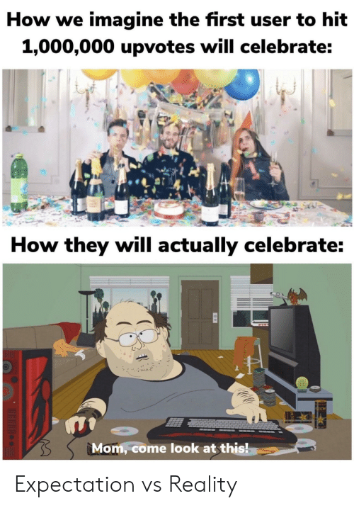 Upvotes: How we imagine the first user to hit  1,000,000 upvotes will celebrate:  How they will actually celebrate:  Mom, come look at this! Expectation vs Reality