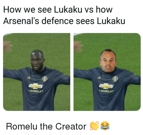 Lukaku: How we see Lukaku vs how  Arsenal's defence sees Lukaku  CHEVROLET Romelu the Creator 👏😂