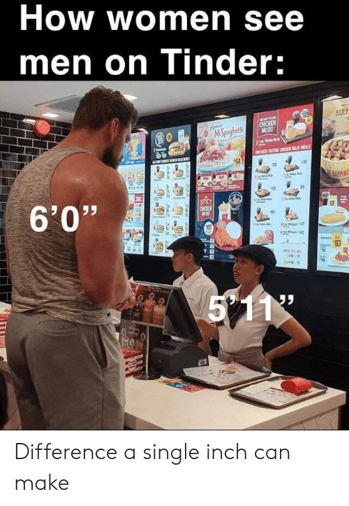 "Tinder, Chicken, and Women: How women see  men on Tinder:  105  SUL  CHICKEN  MCDO  MSpaghetti  Fde  TATING CHON E MEALS  64  125  BOWLE  E HAPPINE  6'0""  SPICY  CHICKEN  TH  17  is g147  on 145  5 11  93  l Difference a single inch can make"