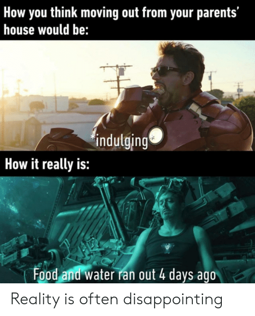 Food, Parents, and House: How you think moving out from your parents'  house would be:  indulging  How it really is:  Food and water ran out 4 days ago Reality is often disappointing