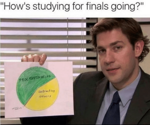 """Finals: """"How's studying for finals going?""""  PROCRASTINATING  Distracting  others"""