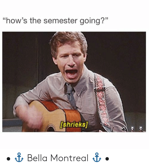 """Montreal, Bella, and The: """"how's the semester going?""""  shrieks • ⚓️ Bella Montreal ⚓️ •"""