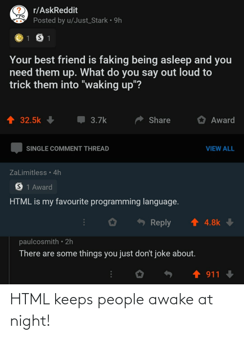 At Night: HTML keeps people awake at night!