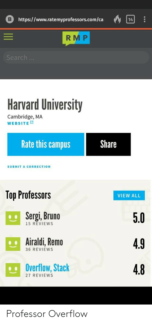 Reviews: https://www.ratemyprofessors.com/ca  14  RMP  Search..  Harvard University  Cambridge, MA  WEBSITE G  Rate this campus  Share  SUBMIT A CORRECTION  Top Professors  VIEW ALL  U Sergi, Bruno  5.0  15 REVIEWS  .. Airaldi, Remo  4.9  36 REVIEWS  Overflow, Stack  4.8  27 REVIEWS Professor Overflow