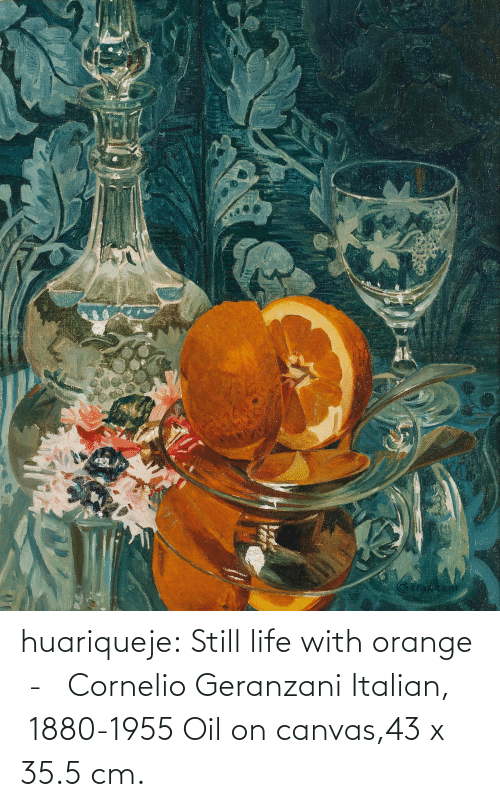 italian: huariqueje:  Still life with orange  -   Cornelio Geranzani  Italian,  1880-1955 Oil on canvas,43 x 35.5 cm.