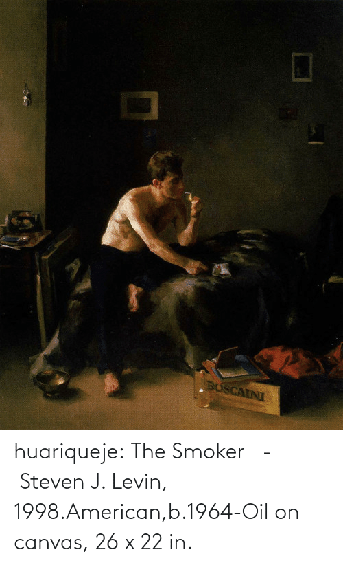 The: huariqueje:  The Smoker   -    Steven J. Levin, 1998.American,b.1964-Oil on canvas, 26 x 22 in.