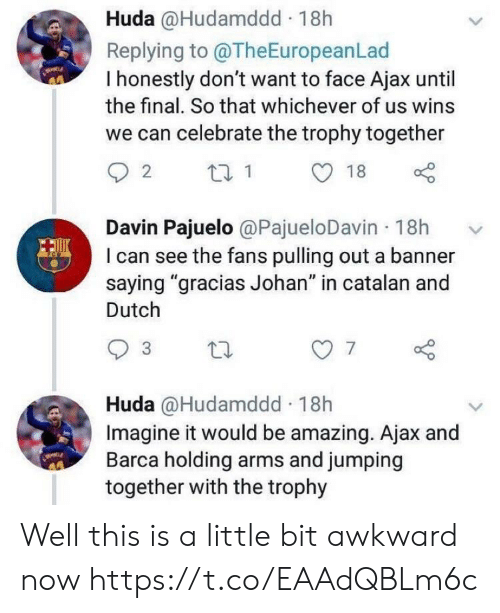 "trophy: Huda @Hudamddd 18h  Replying to @TheEuropeanLad  I honestly don't want to face Ajax until  the final. So that whichever of us wins  we can celebrate the trophy together  Davin Pajuelo @PajueloDavin 18h  I can see the fans pulling out a banner  saying ""gracias Johan"" in catalan and  Dutch  7  Huda @Hudamddd 18h  Imagine it would be amazing. Ajax and  Barca holding arms and jumping  together with the trophy Well this is a little bit awkward now https://t.co/EAAdQBLm6c"