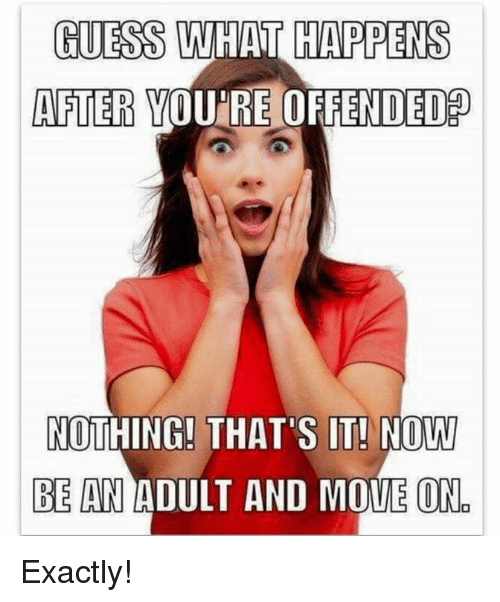 Memes, 🤖, and Adult: HUESS WHAT HAPPENS  AFTER YOU'RE OFFENDED  NOTHING! THAT'S IT! NOW  BE AN ADULT AND MOVE ON Exactly!