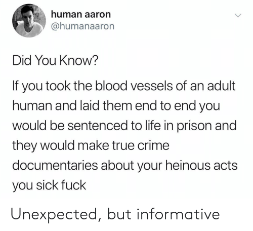 laid: human aaron  @humanaaron  Did You Know?  If you took the blood vessels of  human and laid them end to end you  wOuld be sentenced to life in prison and  they would make true crime  documentaries about your heinous acts  you sick fuck Unexpected, but informative