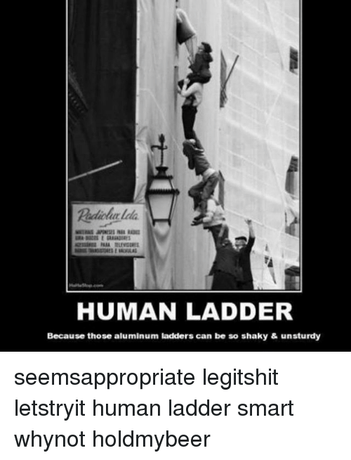 Memes, 🤖, and Human: HUMAN LADDER  Because those aluminum ladders can be so shaky & unsturdy seemsappropriate legitshit letstryit human ladder smart whynot holdmybeer