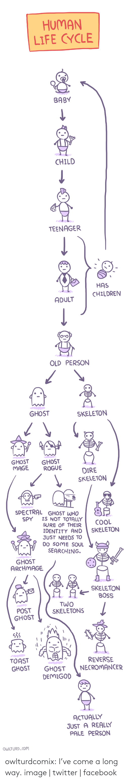 Soul Searching: HUMAN  LIFE CYCLE  BABY  CHILD   TEENAGER  HAS  CHILDREN  ADULT  OLD PERSON   GHOST  SKELETON  GHOST  MAGE  GHOST  ROGUE  DIRE  SKELETON   SPECTRAL GHOST WHO  IS NOT TOTALLY  SURE OF THEIR  IDENTITY AND  JUST NEEDS TO  DO SOME SOUL  SEARCHING.  SPY  COOL  SKELETON  GHOST  ARCHMAGE  SKELETON  BOSS  TWO   POST  GHOST  SKELETONS  S3S  TOAST  GHOST  REVERSE  NECROMANCER  GHOST  DEMIGOD  ACTUALLY  JUST A REALLY  PALE PERSON  OWLTURD.COM owlturdcomix:  I've come a long way. image | twitter | facebook