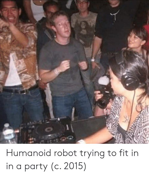 Party, Fit, and Robot: Humanoid robot trying to fit in in a party (c. 2015)