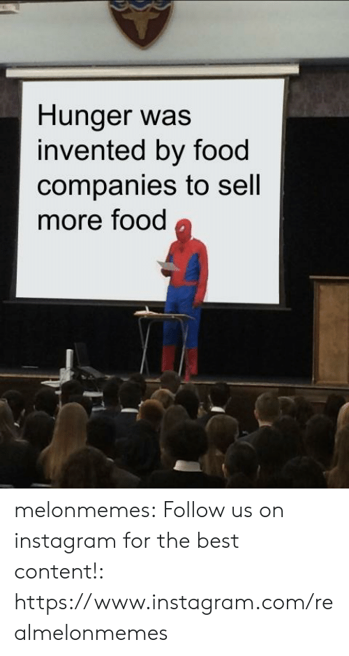 Food, Instagram, and Tumblr: Hunger was  invented by food  companies to sell  more food melonmemes:  Follow us on instagram for the best content!: https://www.instagram.com/realmelonmemes