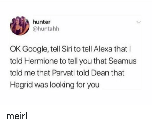 Google, Hermione, and Siri: hunter  @huntahh  OK Google, tell Siri to tell Alexa that I  told Hermione to tell you that Seamus  told me that Parvati told Dean that  Hagrid was looking for you meirl