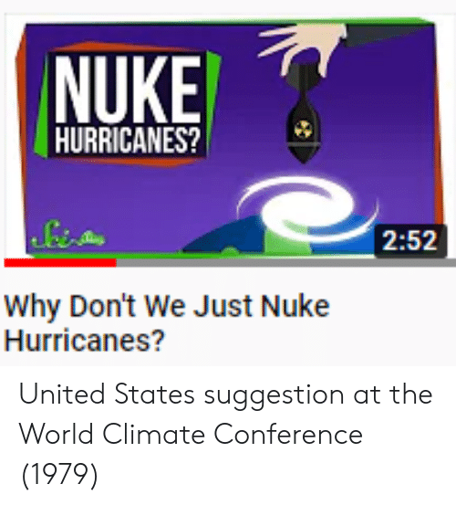 United, World, and United States: HURRICANES?  2:52  Why Don't We Just Nuke  Hurricanes? United States suggestion at the World Climate Conference (1979)