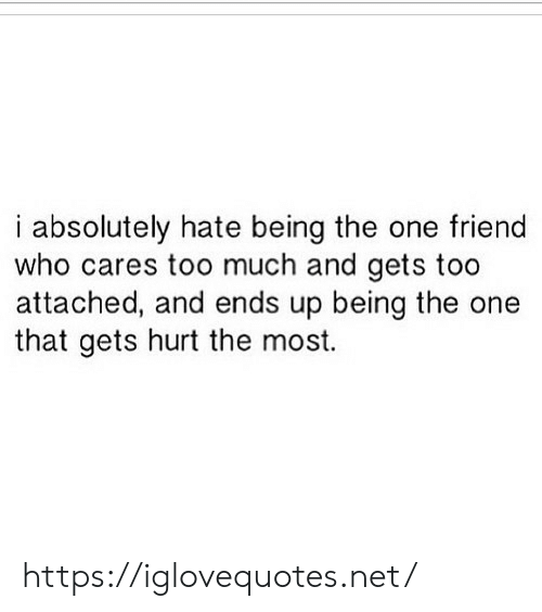 Too Much, Net, and Who: i absolutely hate being the one friend  who cares too much and gets too  attached, and ends up being the one  that gets hurt the most. https://iglovequotes.net/