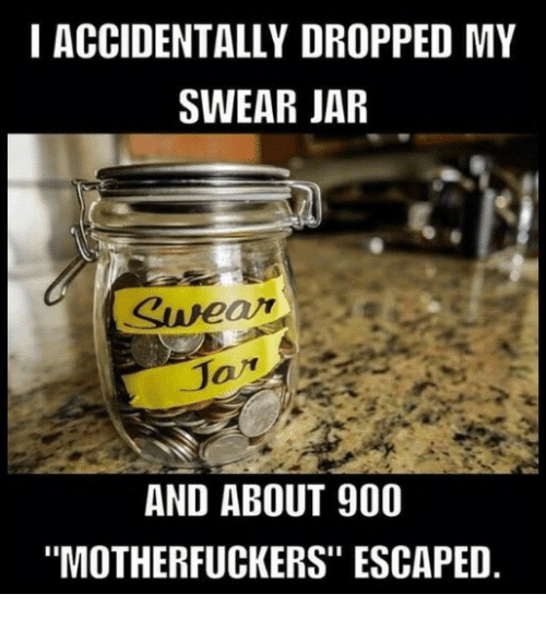 """Swear Jar: I ACCIDENTALLY DROPPED MY  SWEAR JAR  AND ABOUT 900  """"MOTHERFUCKERS"""" ESCAPED"""