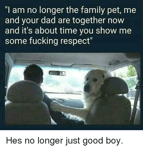 """Pet Me: """"I am no longer the family pet, me  and your dad are together now  and it's about time you show me  some fucking respect"""" Hes no longer just good boy."""