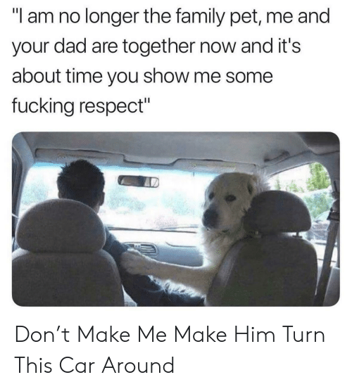 """Pet Me: """"I am no longer the family pet, me and  your dad are together now and it's  about time you show me some  fucking respect"""" Don't Make Me Make Him Turn This Car Around"""
