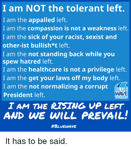 appalled: I am NOT the tolerant left.  I am the appalled left.  I am the compassion is not a weakness left.  I am the sick of your racist, sexist and  other-ist bullish*t left.  I am the not standing back while you  spew hatred left.  I am the healthcare is not a privilege left.  I am the get your laws off my body left.  I am the not normalizing a corrupt  President left.  BLUE  WAVE  VOTERS  I AM THE RTSING VP LEFT  AND WE WILL PREVAIL  It has to be said.