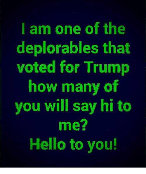 I Am One: I am one of the  deplorables that  voted for Trump  how many of  you will say hi to  me?  Hello to you!
