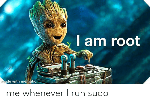 Run, Made, and Whenever: I am root  made with mematic me whenever I run sudo